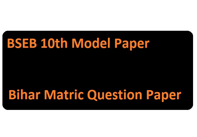 Bihar Matric Question Paper
